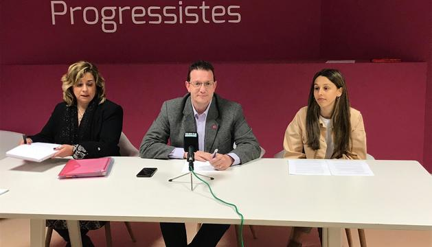 Zoppetti, Donsion i Moliné durant la roda de premsa d'aquesta tarda
