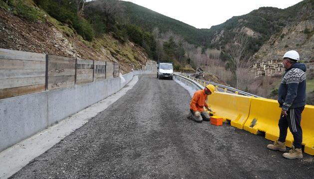 Tram afectat a la carretera de Fontaneda