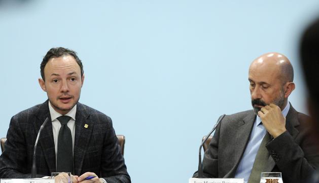 El cap de Govern, Xavier Espot, i el ministre de Salut, Joan Martínez Benazet, durnat la roda de premsa posterior al consell de ministres