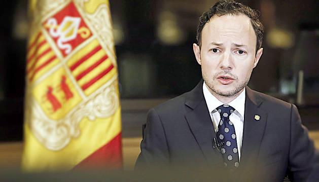 El cap de Govern, Xavier Espot, en un moment del missatge institucional d'ahir al vespre.
