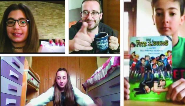 Un dels professors de l'escola andorrana de Canillo (a dalt al centre) i alumnes del col·legi en els vídeos que pengen a Youtube.
