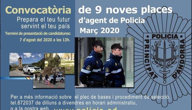 Termini fins al 7 d'agost per a les nou places de policia