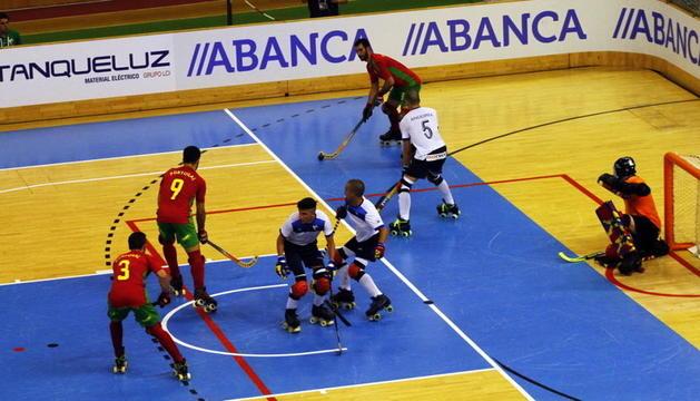 L'equip andorrà durant un partit contra Portugal