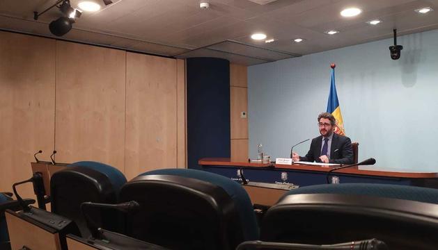 El ministre portaveu durant la roda de premsa d'aquest vespre