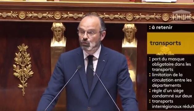 El primer ministre francès, Edouard Philippe, presentant aquesta tardael pla de desconfinament davant dels diputats