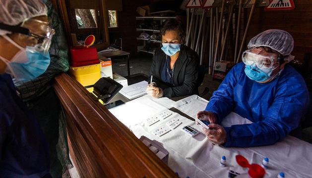 Uns voluntaris fent la lectura dels resultats dels tests d'anticossos.
