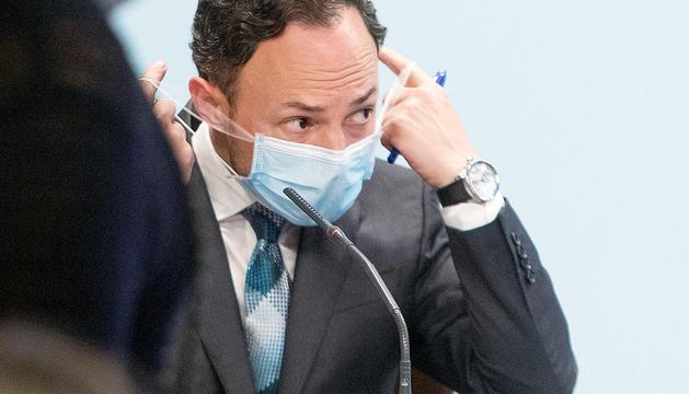 El cap de Govern, Xavier Espot, durant la roda de premsa d'ahir.