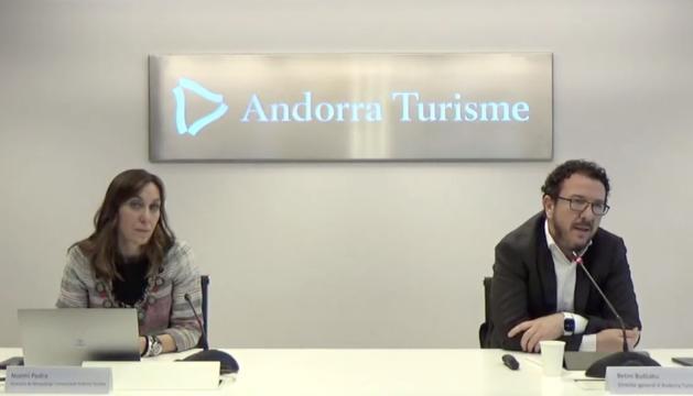 El director general d'Andorra Turisme, Betim Budzaku, i la directora de màrqueting, Noemí Pedra