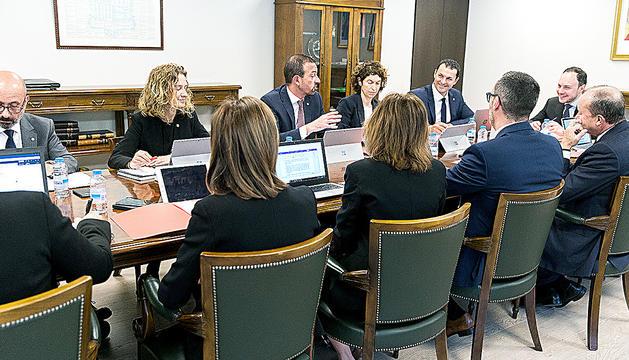 El cap de Govern, Xavier Espot, en la reunió amb els ministres.