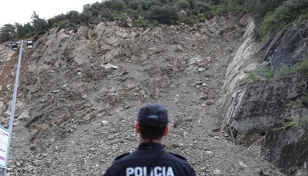 Un agent de policia a la zona de la Portalada