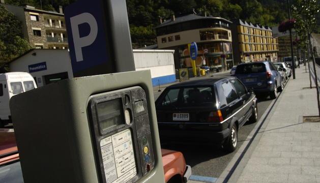 Una màquina de pagament per a la zona blava a Encamp