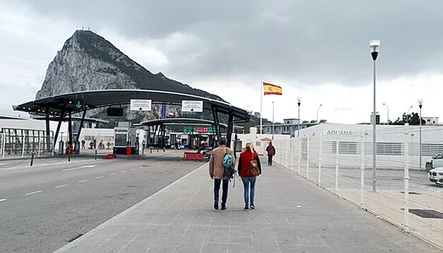 La frontera entre Espanya i Gibraltar.