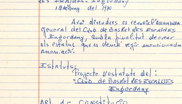 Un extracte dels primers estatuts del club, del 1970.