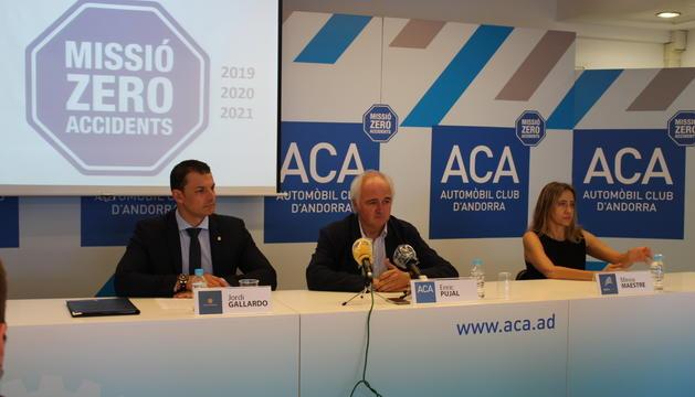 Enric Pujal, Jordi Gallardo i Mireia Maestre en la presentació de la segona edició de la campanya Missió Zero Accidents.