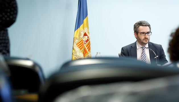 El ministre Portaveu, Eric Jover, en la roda de premsa posterior al consell de ministres d'avui.