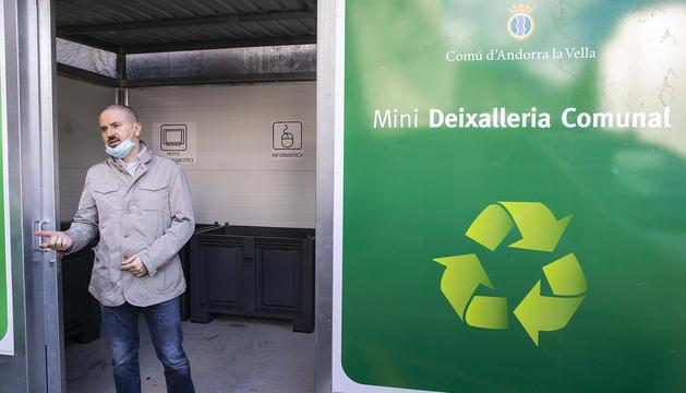 Gerard Estrella, durant la presentació de la nova minideixalleria a l'aparcament Meritxell.