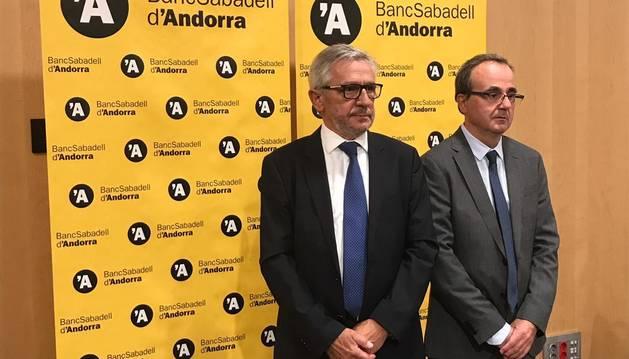 El president del Consell d'Administració de BSA, Miquel Alabern, i el president de BSA, Josep Segura.