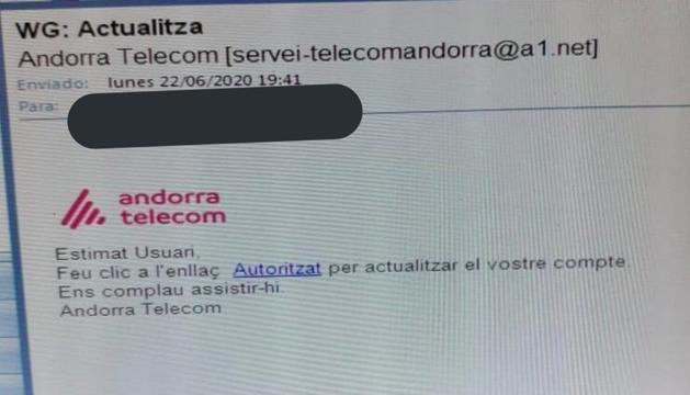 Exemple del correu de 'phishing' que han rebut algunes persones.