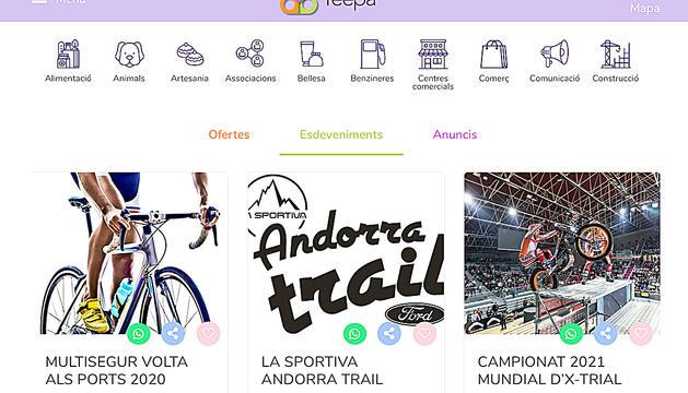La plataforma es basa en tres eixos: guia d'empreses, ofertes i esdeveniments.