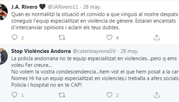 Captura de pantalla de part de la discussió entre Rivero i Stop Violències.