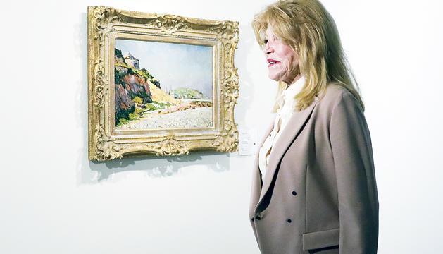 La baronessa Thyssen en una de les visites al museu del Principat.