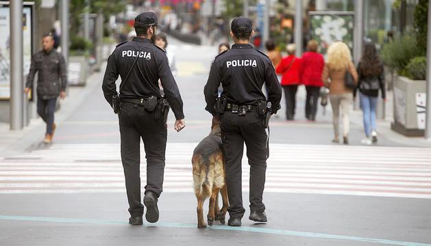Dos agents de policia amb un gos del servei a l'eix comercial.