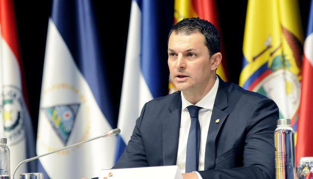 El ministre Jordi Gallardo durant la trobada d'avui