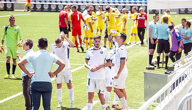 Futbolistes a l'aturada d'hidratació.