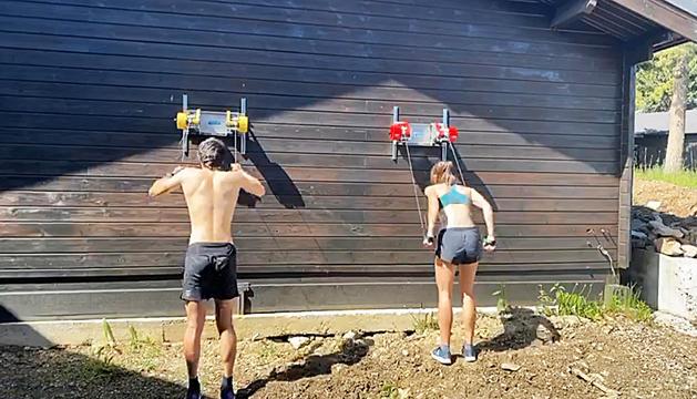 Irineu Esteve i Carola Vila durant un entrenament.