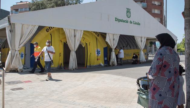 Hospital de campanya instal·lat a la ciutat de Lleida.