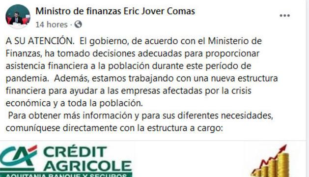 El fals anunci a nom del ministre publicat a Facebook.