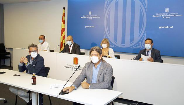 La roda de premsa feta ahir a Lleida.