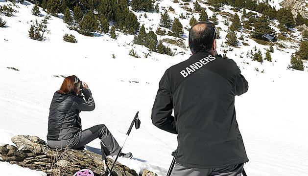 Banders fent tasques de vigilància a la muntanya.