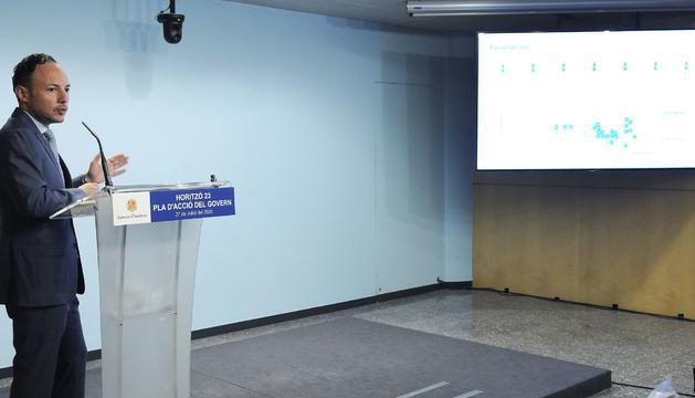 Xavier Espot durant la presentació del pla aquest migdia