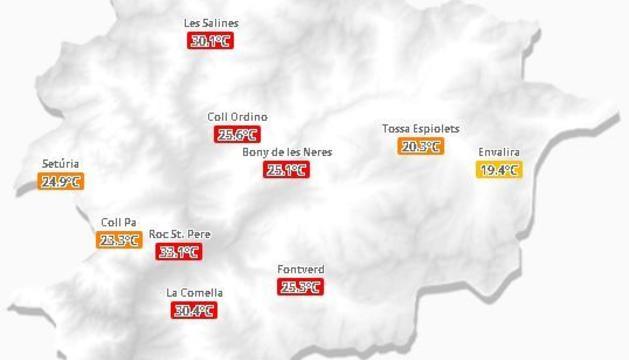 Temperatures registrades fins a primera hora de la tarda