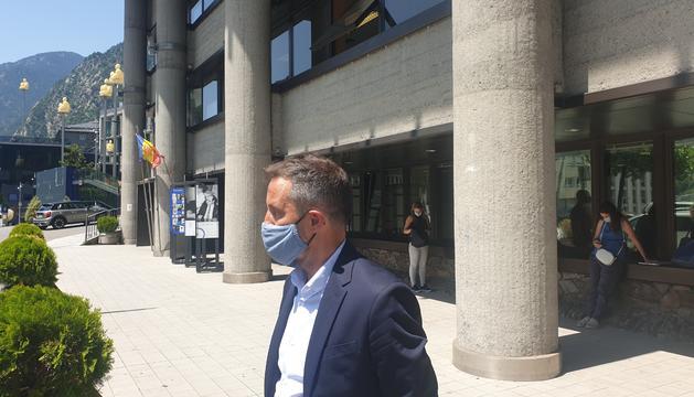 Pere López durant les declaracions d'aquest matí