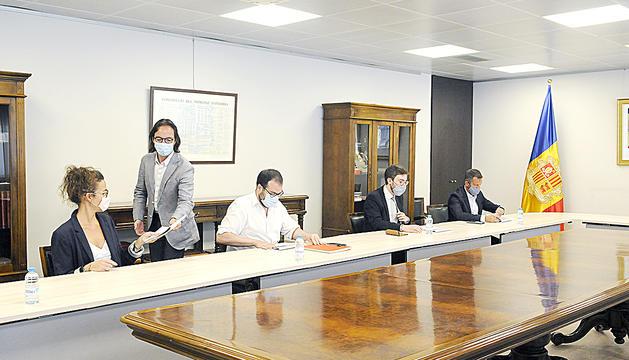 La reunió del Govern amb els consellers del PS (López, Padreny, Sánchez i Salazar)