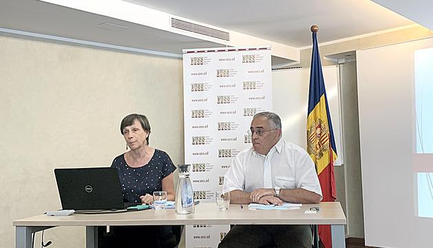 Joaquima Sol, directora general, i Albert Font, president del consell d'administració, ahir.