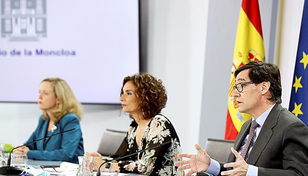 El ministre de Sanitat espanyol, Salvador Illa, ahir en roda de premsa.