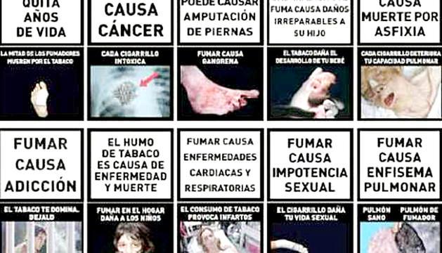 Imatges d'advertències en paquets a Espanya.
