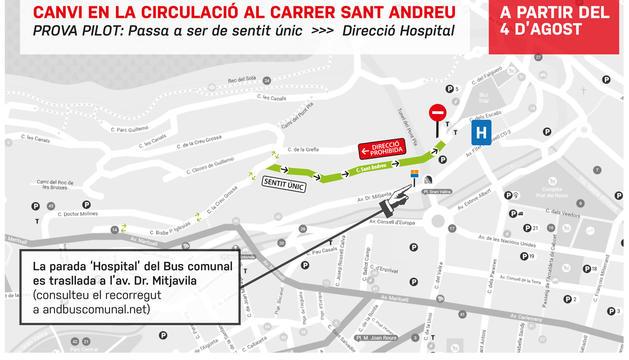 Plànol de la prova pilot al carrer Sant Andreu