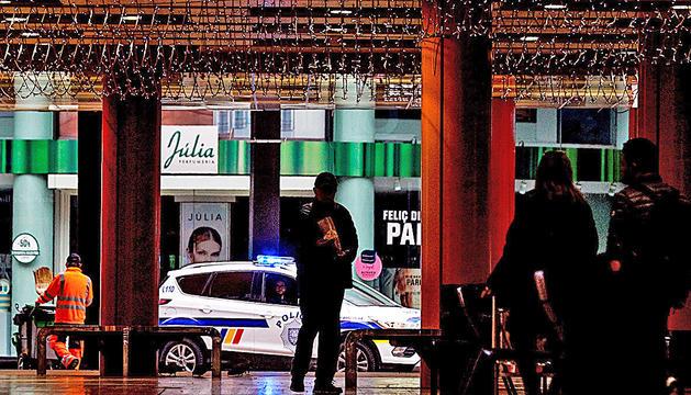 Un vehicle del cos de policia realitzant una vigilància.