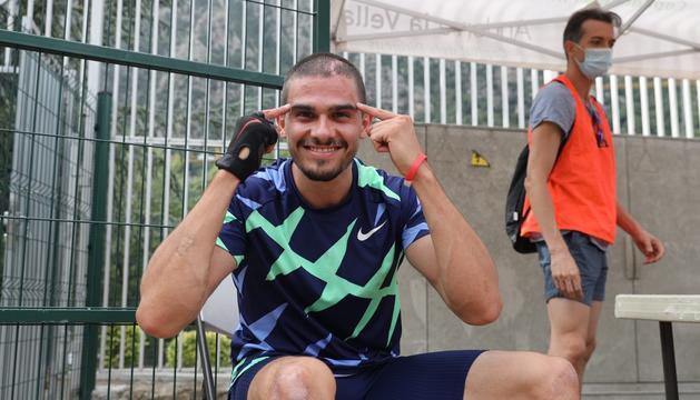 Bruno Hortelano després de millorar el rècord espanyol aquesta tarda al Comunal