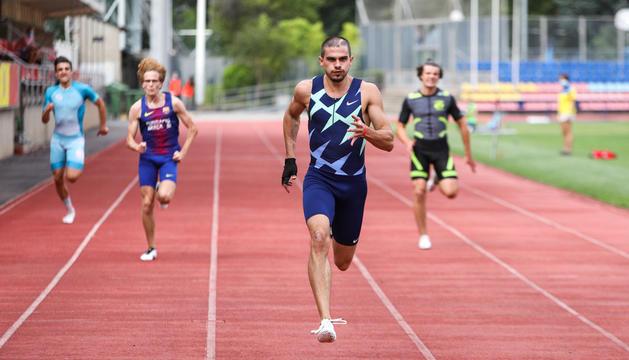 Bruno Hortelano ahir a l'Estadi Comunal durant el Campionat d'Andorra.