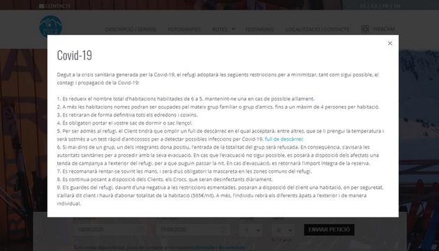 Captura de pantalla del que apareix en el moment d'accedir a la web del refugi.