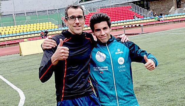 Pep Sansa i Nahuel Carabaña, en una imatge del 2016, la primera vegada que van coincidir els dos atletes en una competició.