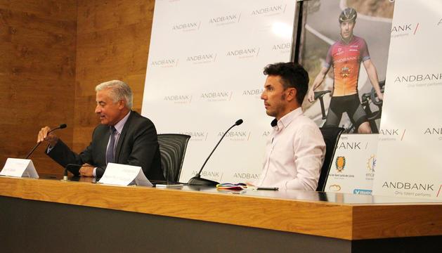 Josep Maria Cabanes, d'Andbank, i 'Purito' Rodríguez, ahir.