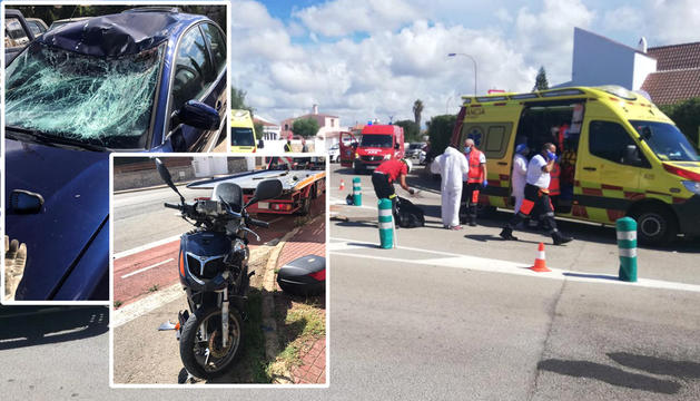 La moto i el turisme que van col·lidir dijous a Cala Blanes, a Ciutadella.