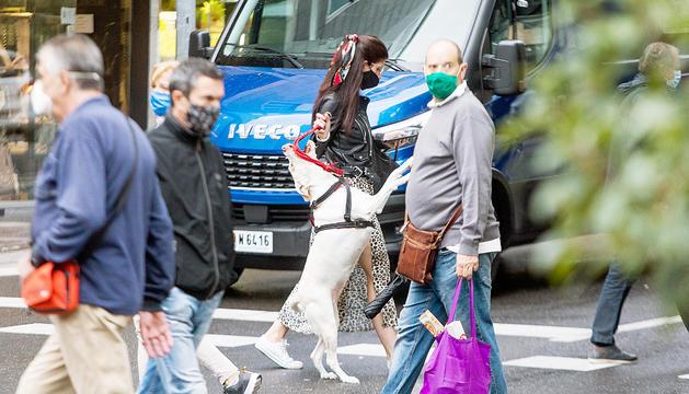 Una noia passejant el gos, ahir.