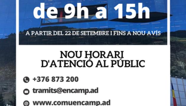 L'atenció al públic del comú d'Encamp serà de les 9 fins a les 15 hores